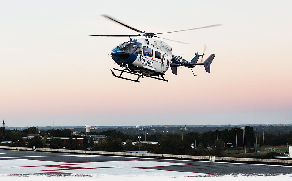 Helicopter landing at a hospital